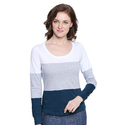 Women 100% Cotton Round Neck Full Sleeves Multi-colour T-shirt