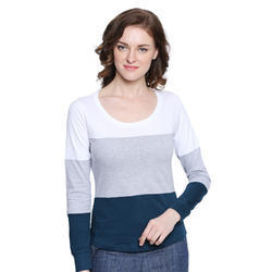 Ladies Cotton Round Neck Full Sleeves T-Shirt