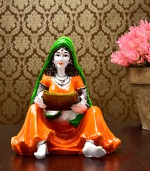 Karigaari Rajasthani Lady with Supda Polyresin Showpiece