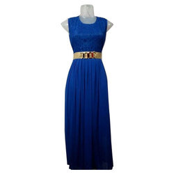 Blue Cotton And Net Ladies Plain Long Gown