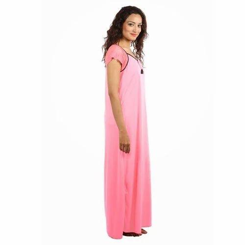 Pink Base Plain Cotton Nighty db959dccc