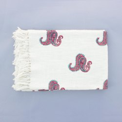 Jaipuri White Block Printed 100% Cotton Throws