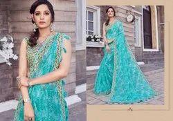 Linen Floral Printed Sarees, Length: 6.3 m