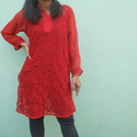 Regular Stitched Red Casual Kurta