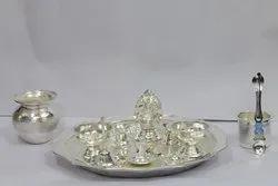 Silver Plated Pooja Set (Medium)