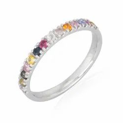 10K White Gold Sapphire Gemstone Band Ring
