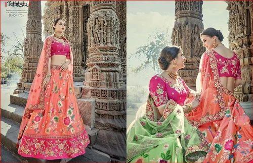 3874afc34e Pure Banarasi Silk Semi-Stitched Wedding Lehenga Choli, Rs 6293 ...