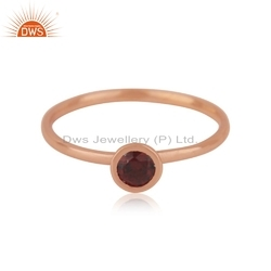 Indian Rose Gold Plated Silver Natural Garnet Gemstone Ring Jewelry