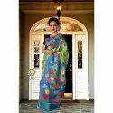 Ladies Multi Colored Kantha Tussar Silk Saree