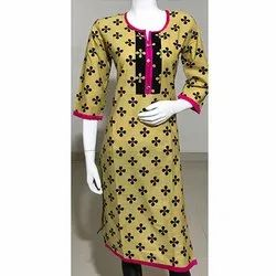 Yellow A Line Flower Print Kurti