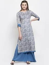 Party Wear Rayon Designer Kurti Palazzo Set