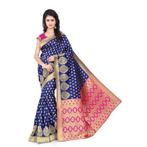 Silk Party Wear Banarasi Saree, 5.5 M (separate Blouse Piece)