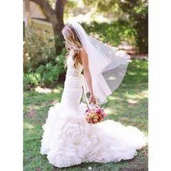Stitched Net Ladies Designer Bridal White Gown