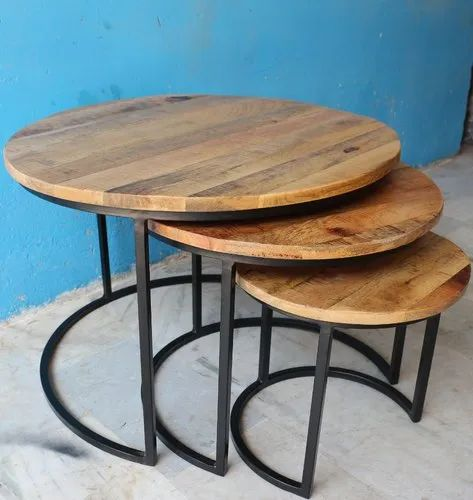 Industrial Vintage Ms Iron Frame With Rough Mango Wood Round Set