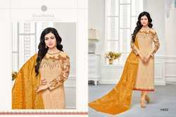 Cream & Mustard Georgette Embroidered Salwar Suit With Banarasi Dupatta
