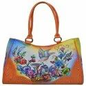 Leather Handled Floral Bird Hand Painted Bag, Dimension: 40 X 28 X 12 Cm