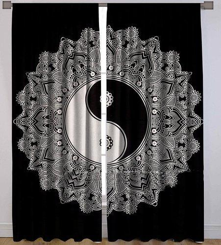 Fashion Fab Cotton Ying Yang Mandala Curtains Size 90 X 108 Inches