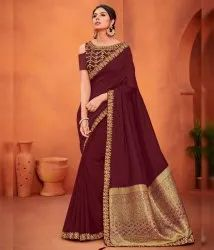 Shree Exports Festive Wear Rust Color Art Silk Classy Saree