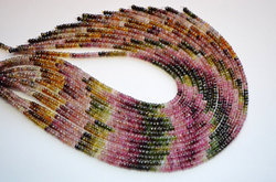 15 Inch 4mm 100% Natural Lustrous Multi Tourmaline Faceted Rondelle Beads