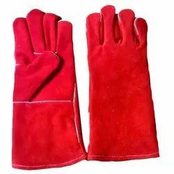 Red Split Leather Welding Hand Gloves