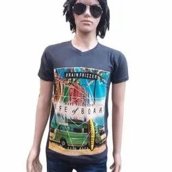 Cotton Round Mens Half Sleeve Printed T-Shirts