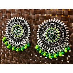 Oxidized Lime and Dark Green Beads Earrings