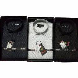 For You Collar Neck Men Dot Printed Cotton Shirts, Size: S-XXL
