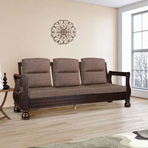 Brown 3 Seater Designer Wooden Sofa