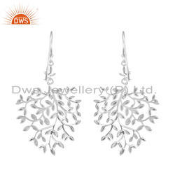 White Rhodium Plated 925 Silver Leaf Design Hook Earrings Jewelry