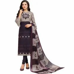 Rajnandini Beige And Violet Chanderi Silk Embroidered Semi-Stitched Dress Material With Dupatta