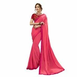Pink Colored Georgette Pearl & Stone Border Party Wear Saree