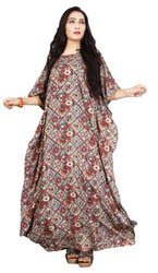 Cotton Casual Wear Women Ankle Length Printed Long Kaftans, Size: Free Size