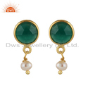 Natural Green Onyx Pearl Gemstone Dangle Design Drop Earrings