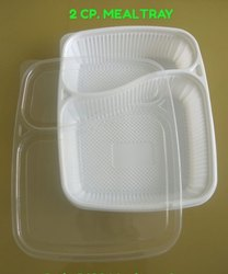White & Black 2 Cp Meal Tray