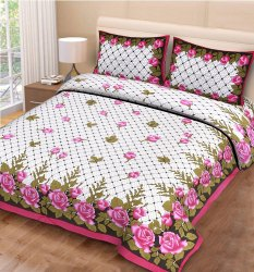 Jaipuri Pure Cotton Double Floral Bed Sheet