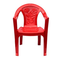 Red With Hand Rest (Arms) Plastic Chair, for Home