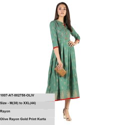 Olive Rayon Gold Print Kurta