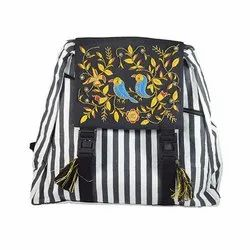 Black Cotton Designer Side Bag SB10009, For Casual