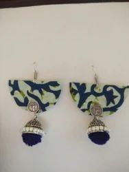 German Silver Jhumka Fabric Earrings