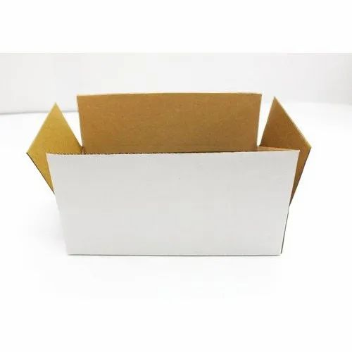 Rectangular 3 Ply White Packaging Corrugated Box 8x5x2 inches