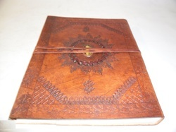 Indra Embossed Handmade Leather Journal with Stone