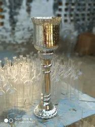 Silver Glass Candle Stand