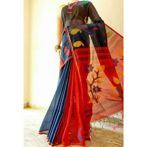Cotton Handloom Women Saree, 6 m (with blouse piece)