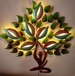 LED Galvanised Iron Designer Yoga Tree, For Interior Wall Decor