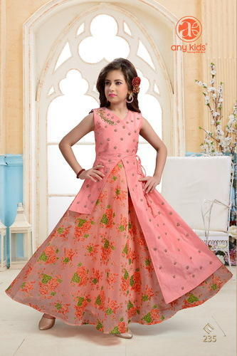 6df99cd0eb744 Pink Curry Palace Silk Kids Attractive Designer Gown