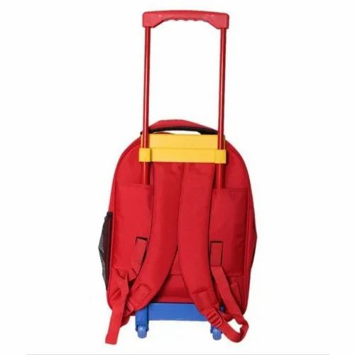2ebefa72938b Red And Yellow Plain Kids Trolley School Bag