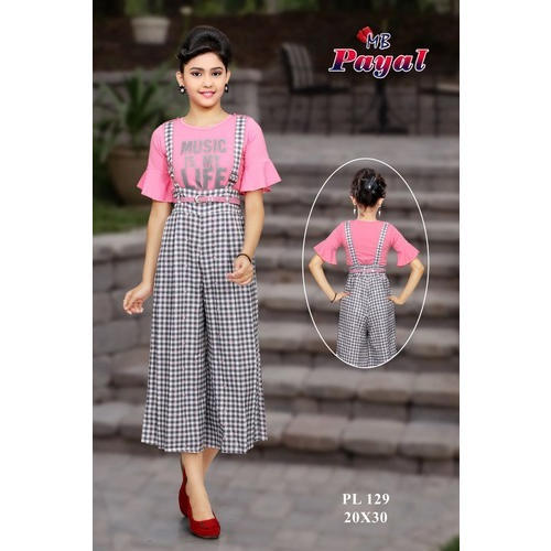 8d3e684bc3 M.B. Phuspa Dresses Casual Wear Kids Check Culotte Dungarees With ...
