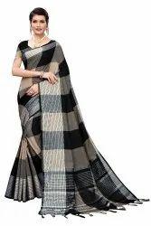 Cotton Silk Party Wear Black Saree With Blouse Piece
