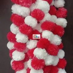White Red Fusion Genda Marigold Flower Garland