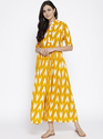 Rayon Yellow And White Printed Long Flared Kurta, Size: 38, 40 And 42